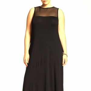 Kenzie Mesh Yoke Maxi Dress Black Maxi Dress